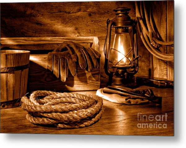 Rope And Tools In A Barn - Sepia Metal Print