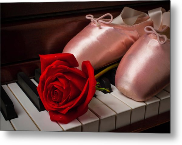 Rose And Ballet Shoes Metal Print