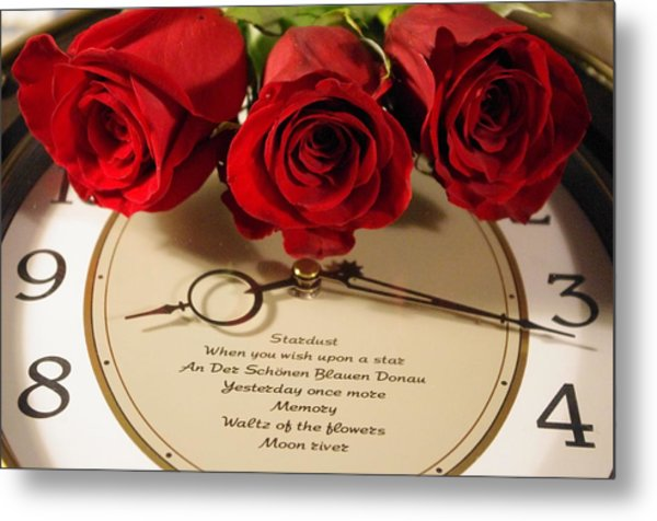 Rose And Clock2 Metal Print