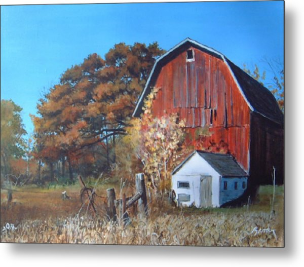 Rose Center Barn Metal Print
