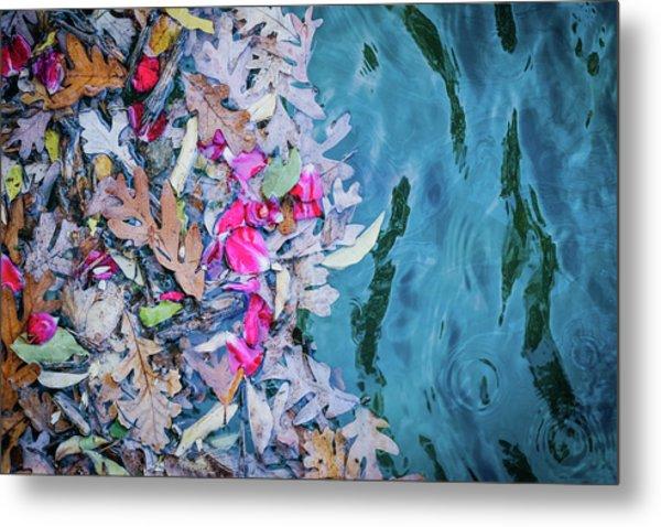 Rose Garden Fountain Metal Print