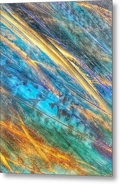 Metal Print featuring the painting Rose Gold And Teal Blue Abstract Painting by Marianna Mills