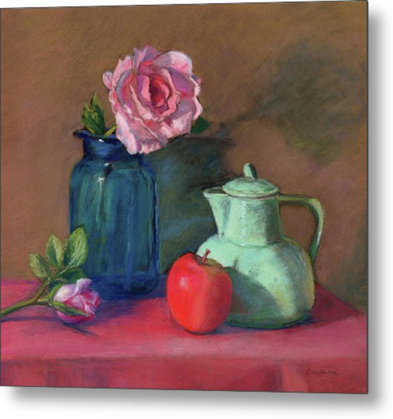 Rose In Blue Jar Metal Print