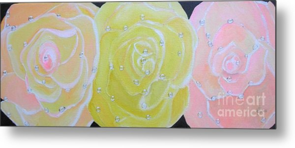 Rose Medley With Dewdrops Metal Print