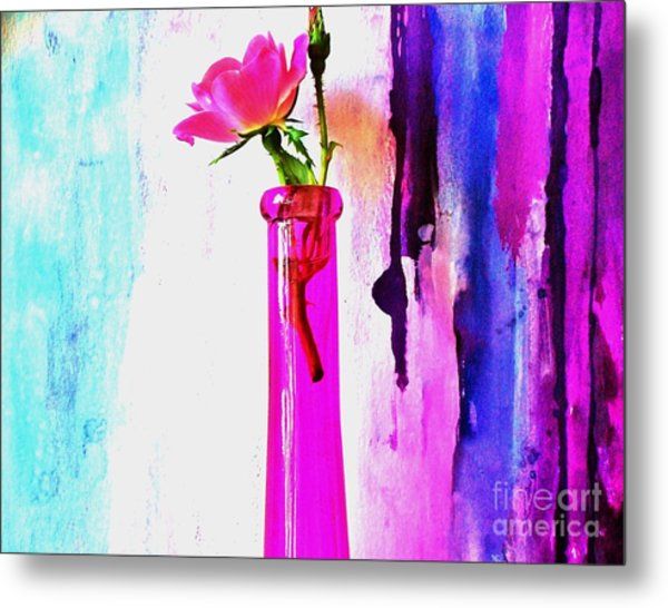 Rose On Abstract Metal Print by Marsha Heiken