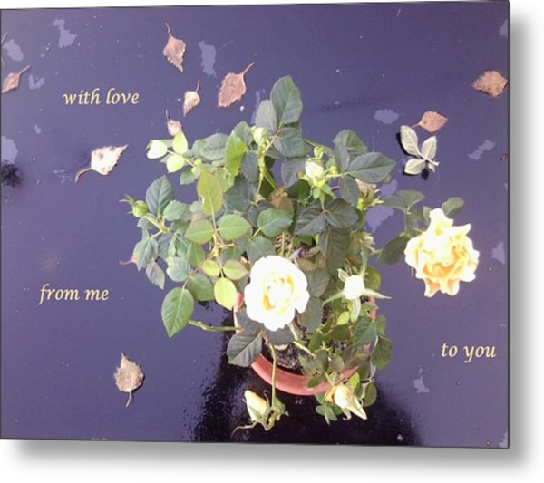 Rose On Glass Table With Loving Wishes Metal Print