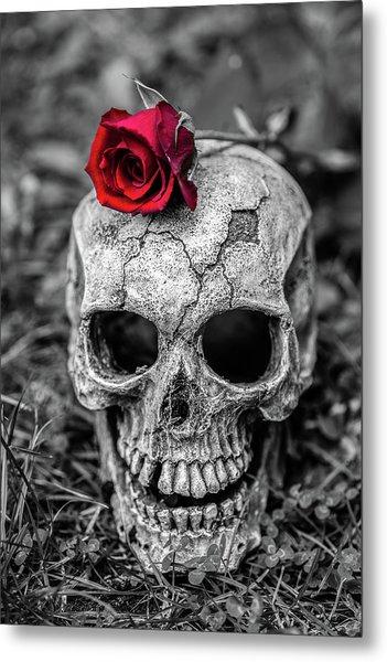 Rose Skull Metal Print