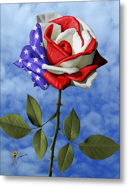 Rose White And Blue Metal Print