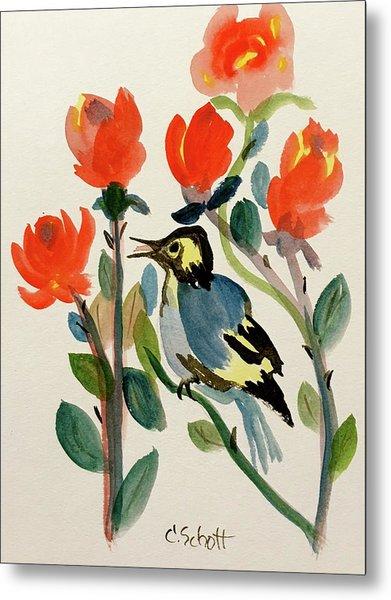 Rose With Blue Bird Metal Print