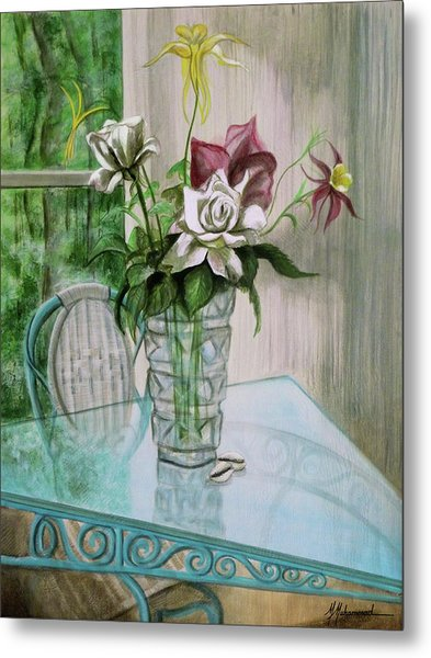 Roses And Columbine Metal Print by Marcella Muhammad