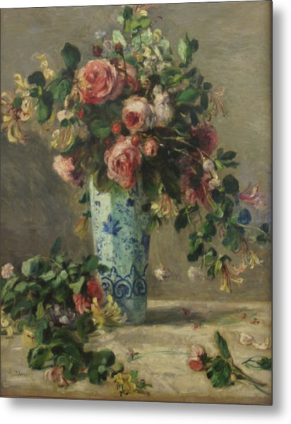 Roses And Jasmine In A Delft Vase Metal Print by Pierre Auguste Renoir