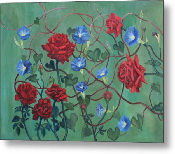 Roses And Morning Glories Metal Print
