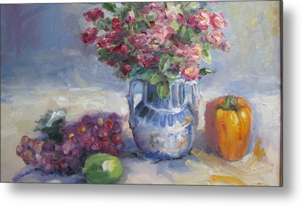 Roses And Pepper Still Life Metal Print