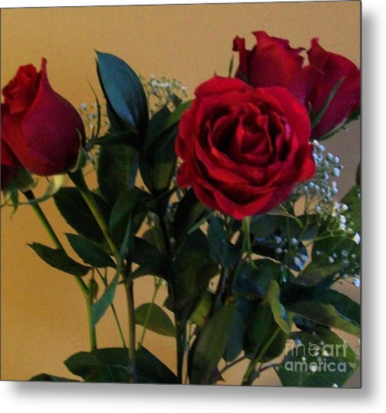 Roses For Valentines Day Metal Print by Marsha Heiken