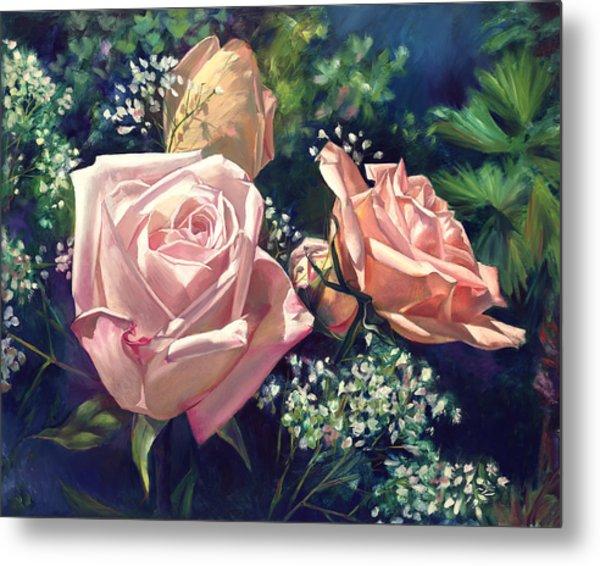 Roses In The Mist Metal Print