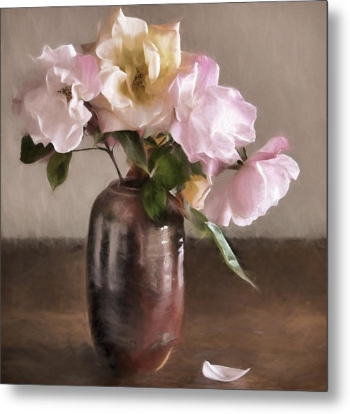 Roses In Vase Painterly Metal Print