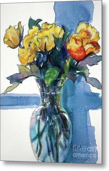 Roses In Vase Still Life I Metal Print
