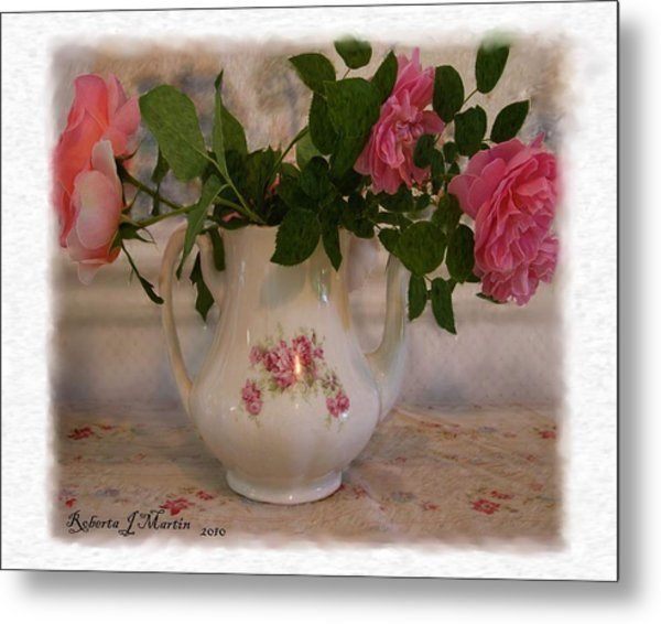 Roses On Breakfast Table  Metal Print