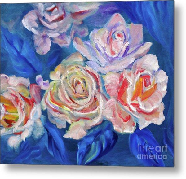 Roses, Roses On Blue Metal Print