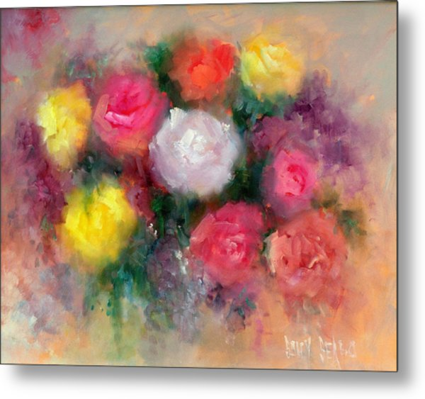 Roses Metal Print by Sally Seago