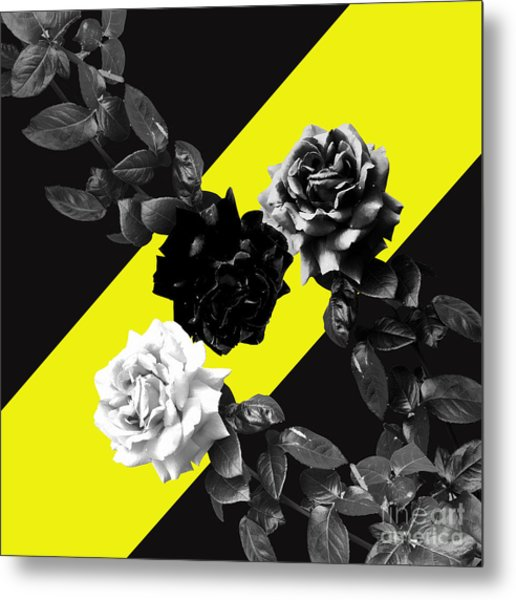 Roses Versus Yellow Metal Print