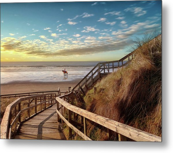 Rossnowlagh Beach At The End Of The Day - With A Horse Metal Print