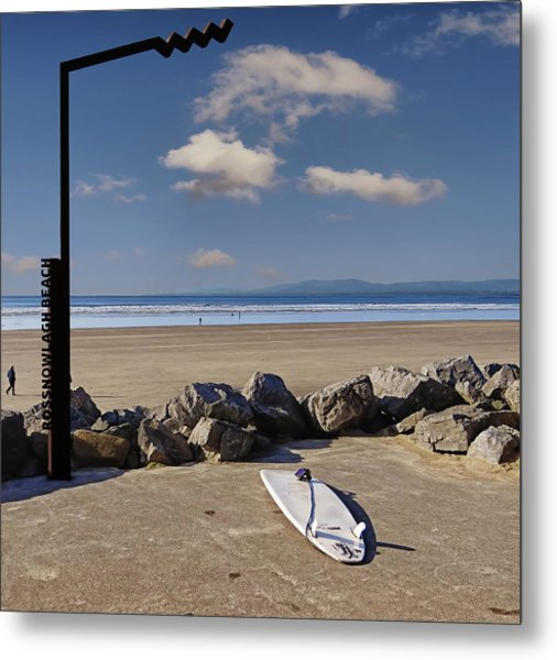 Rossnowlagh Beach On The Wild Atlantic Way With A Surfboard And Rocks Metal Print