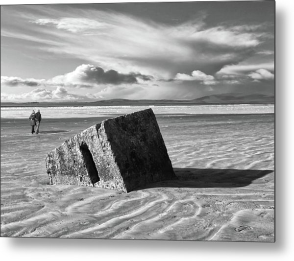 Rossnowlagh Beach - The Old Wartime Fortifications Sinking In The Sand With A Dramatic Sky Metal Print