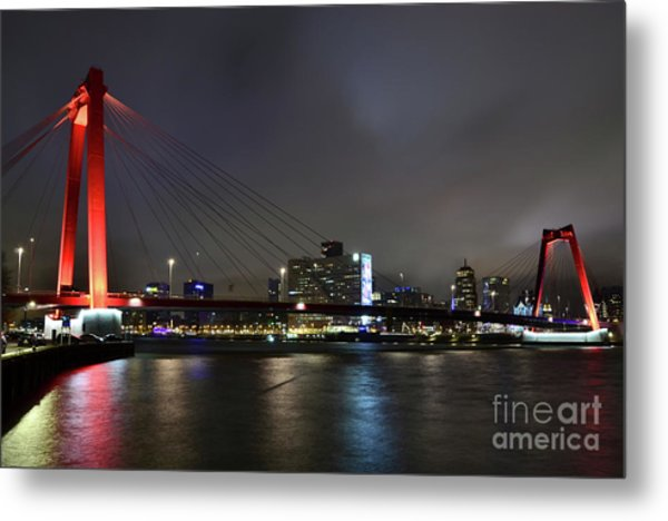 Rotterdam - Willemsbrug At Night Metal Print