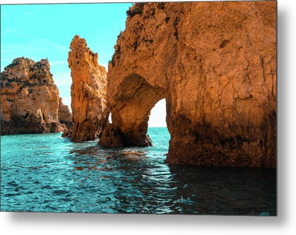 Rough Beauty - Sea Stacks And Natural Arches In Orange And Teal Metal Print