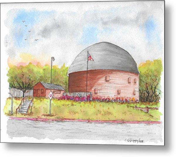 Round Barn In Route 66, Arcadia, Oklahoma Metal Print