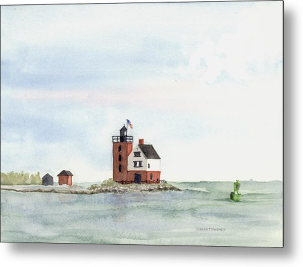 Round Island Lighthouse Metal Print by Susan Mahoney