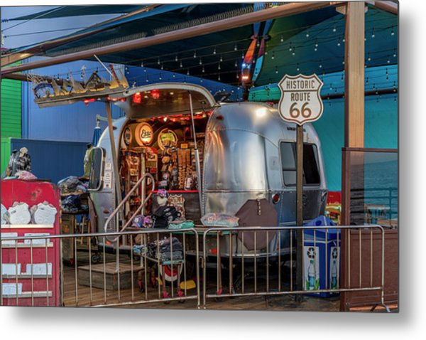Route 66 And Airstream On Tha Pier Metal Print