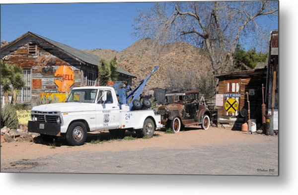 Route 66 Old Shell Service Station Metal Print