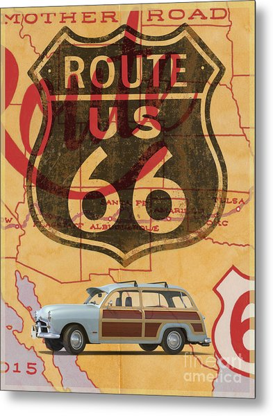 Metal Print featuring the digital art Route 66 Vintage Travel Poster by Edward Fielding