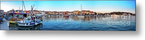 Rovinj Harbor And Boats Panorama Metal Print