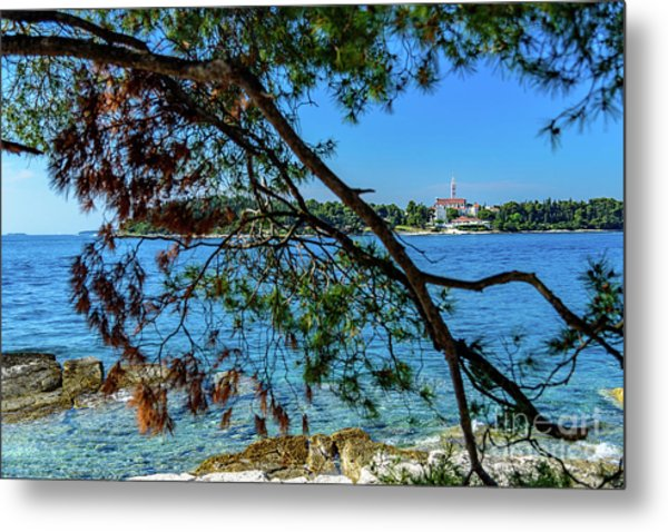 Rovinj Old Town Accross The Adriatic Through The Trees Metal Print