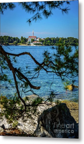 Rovinj Seaside Through The Adriatic Trees, Istria, Croatia Metal Print