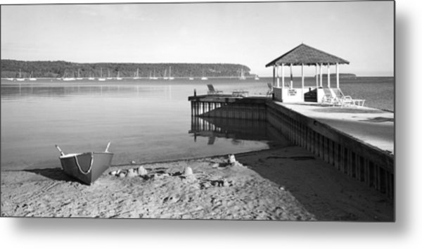 Row Boat And Dock At Ephriam Metal Print by Stephen Mack