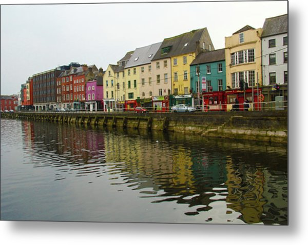Row Homes On The River Lee, Cork, Ireland Metal Print