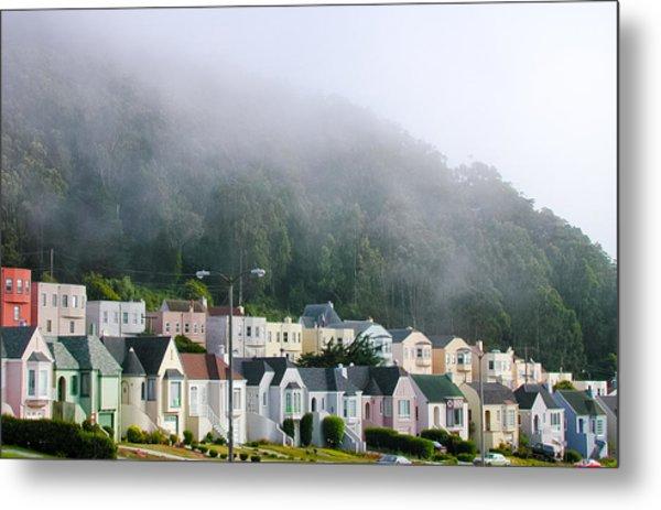 Row Houses In Fog Metal Print