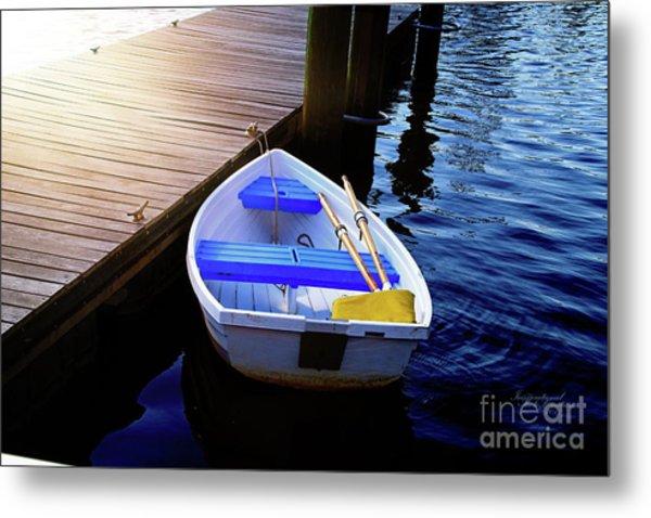 Rowboat At Sunset Metal Print