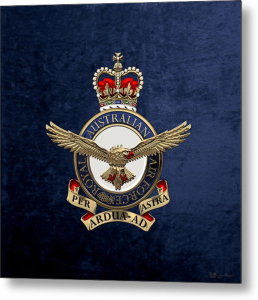 Royal Australian Air Force -  R A A F  Badge Over Blue Velvet Metal Print