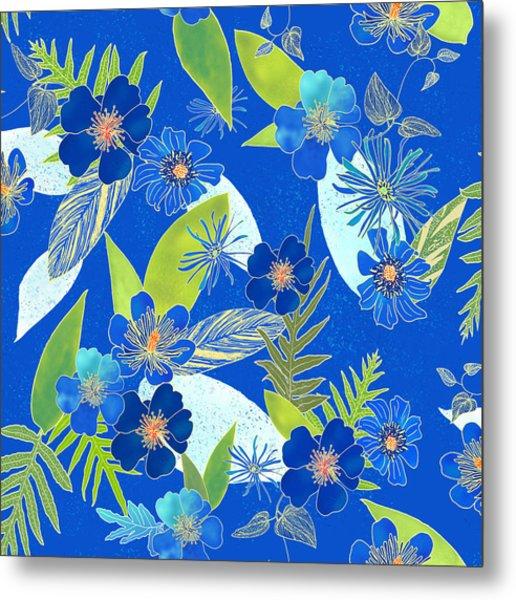 Royal Blue Aloha Tile 3 Metal Print