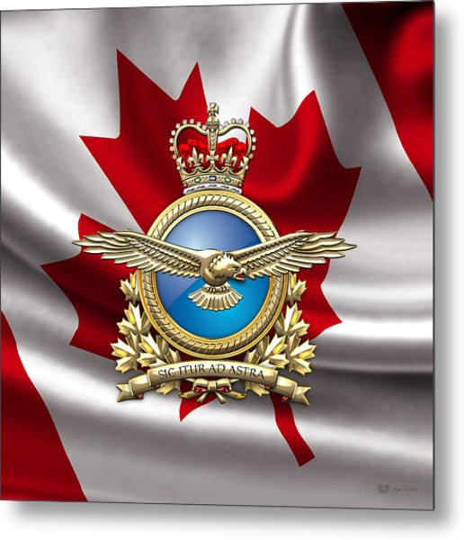Royal Canadian Air Force Badge Over Waving Flag Metal Print