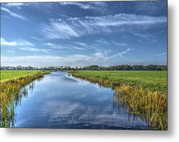 Royal Canal And Grasslands Metal Print
