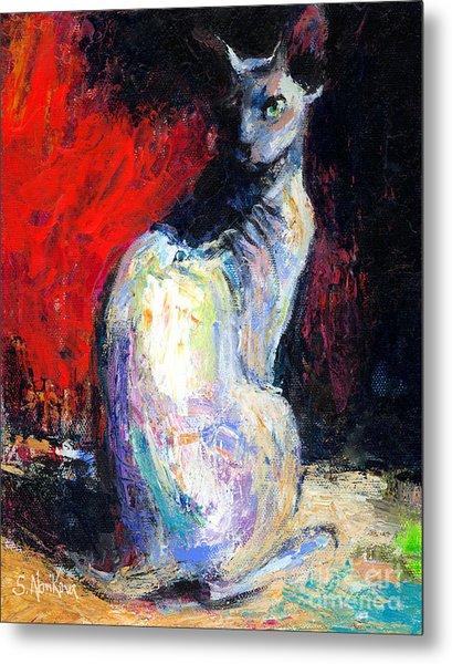 Royal Sphynx Cat Painting Metal Print