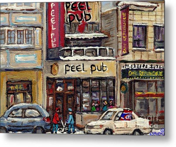 Rue Peel Montreal Winter Street Scene Paintings Peel Pub Cafe Republique Hockey Scenes Canadian Art Metal Print