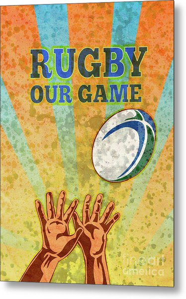 Rugby Player Hands Catching Ball Metal Print by Aloysius Patrimonio