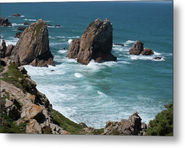 Rugged Coastline - Portugal Metal Print by Connie Sue White